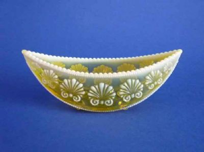 Unusual Davidson's Yellow Pearline Glass 'War of the Roses' Medium Canoe Posy Trough c1895